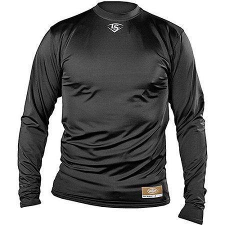 Louisville Slugger Men's Slugger Compression-Fit Crew Long Sleeve Shirt, Size: Adult Medium, Black