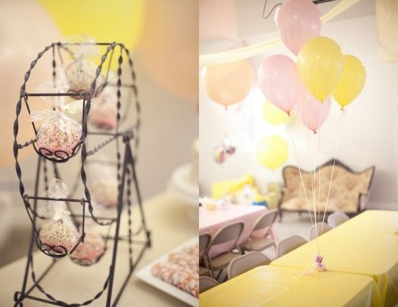 Circus Themed Birthday Party - love the ferris wheel for the cupcakes! :)