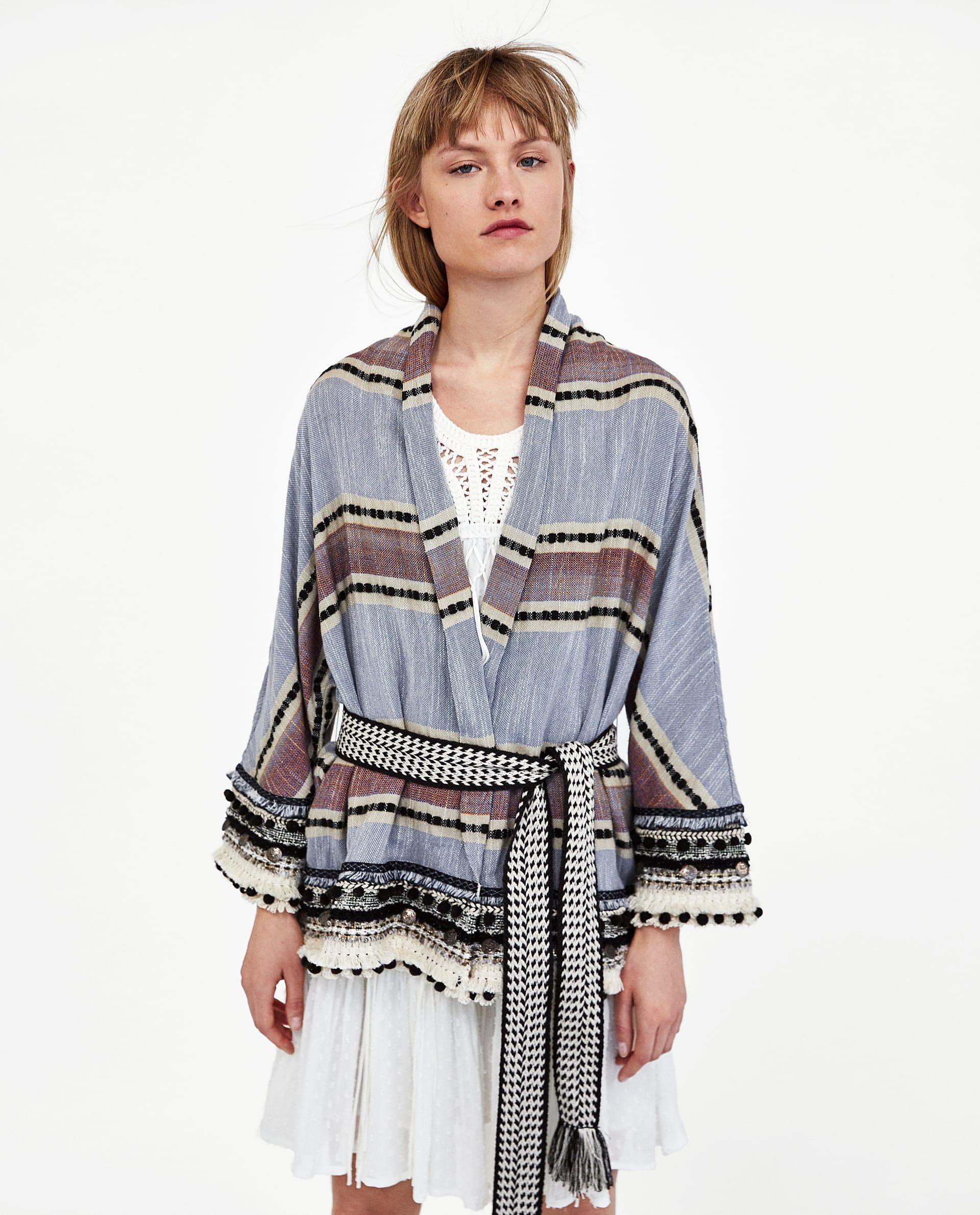 75b5cf8ab3 STRIPED KIMONO WITH POMPOMS | Trend SS19: Stripe | Kimono, Zara ...