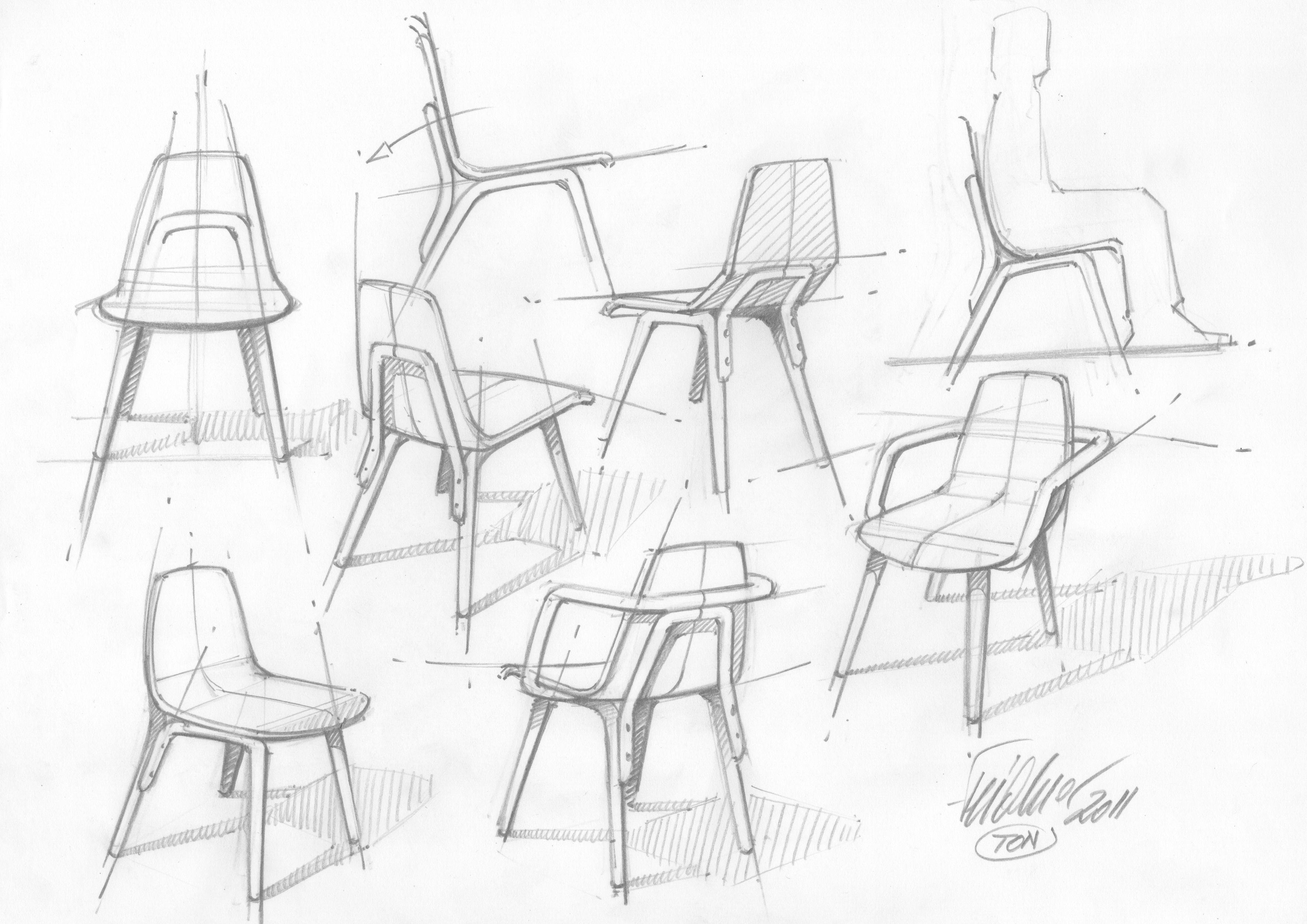 chair design drawing. TRAM CHAIR Date: 2013 Design: Thomas Feichtner Type: Chair Material: Bended Wood Producer: TON, Czech Republic Design Drawing A