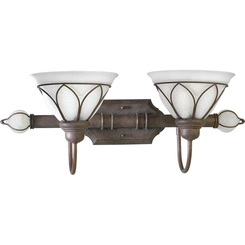 Bathroom - Progress Lighting P3250 Verona Two-Light Bathroom Fixture with Wire Details and Alabaster Glass Shades