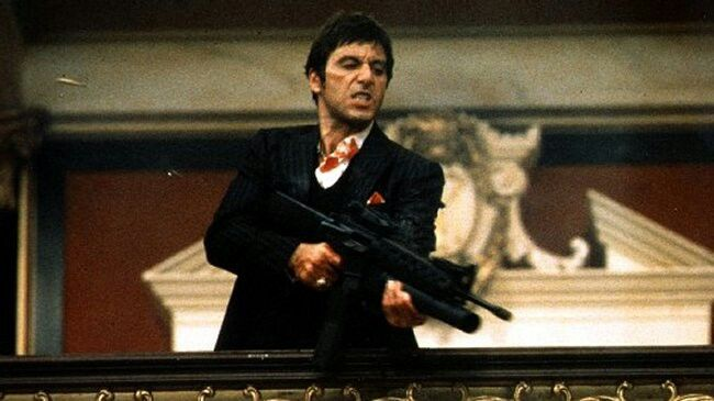 Al Pacino in Scarface with a M16