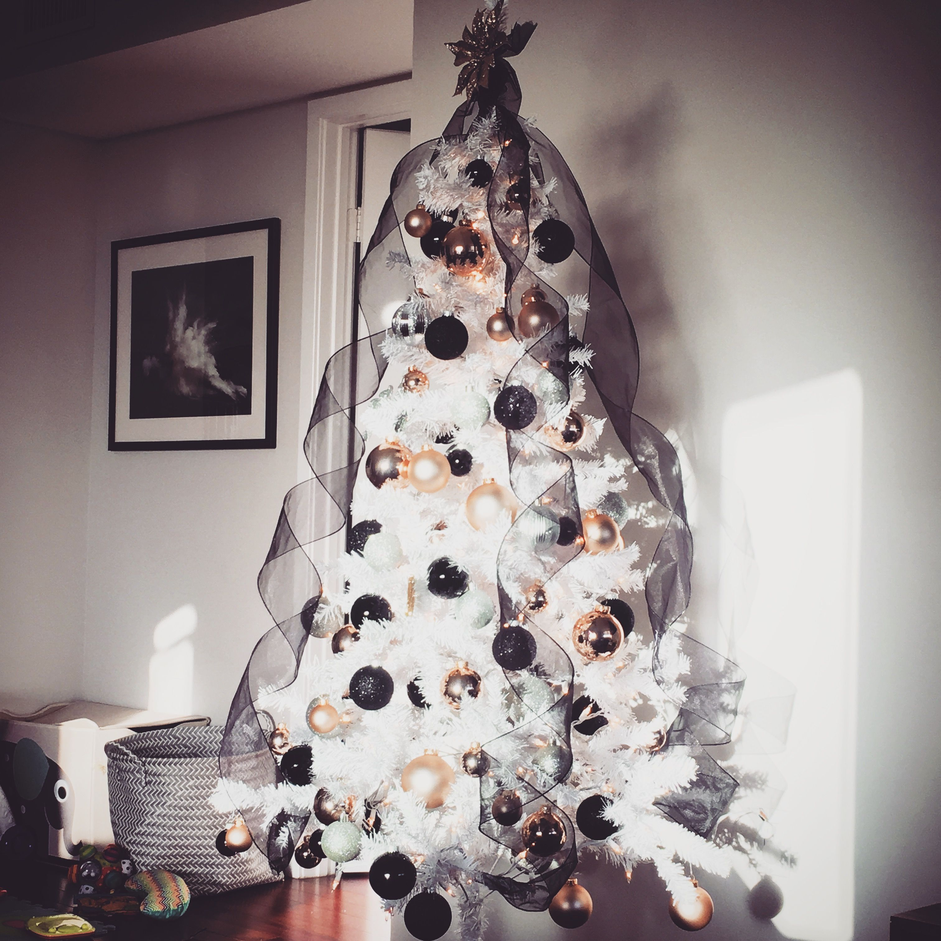 Christmas Tree Idea. Rose Gold, Black, Silver With Black