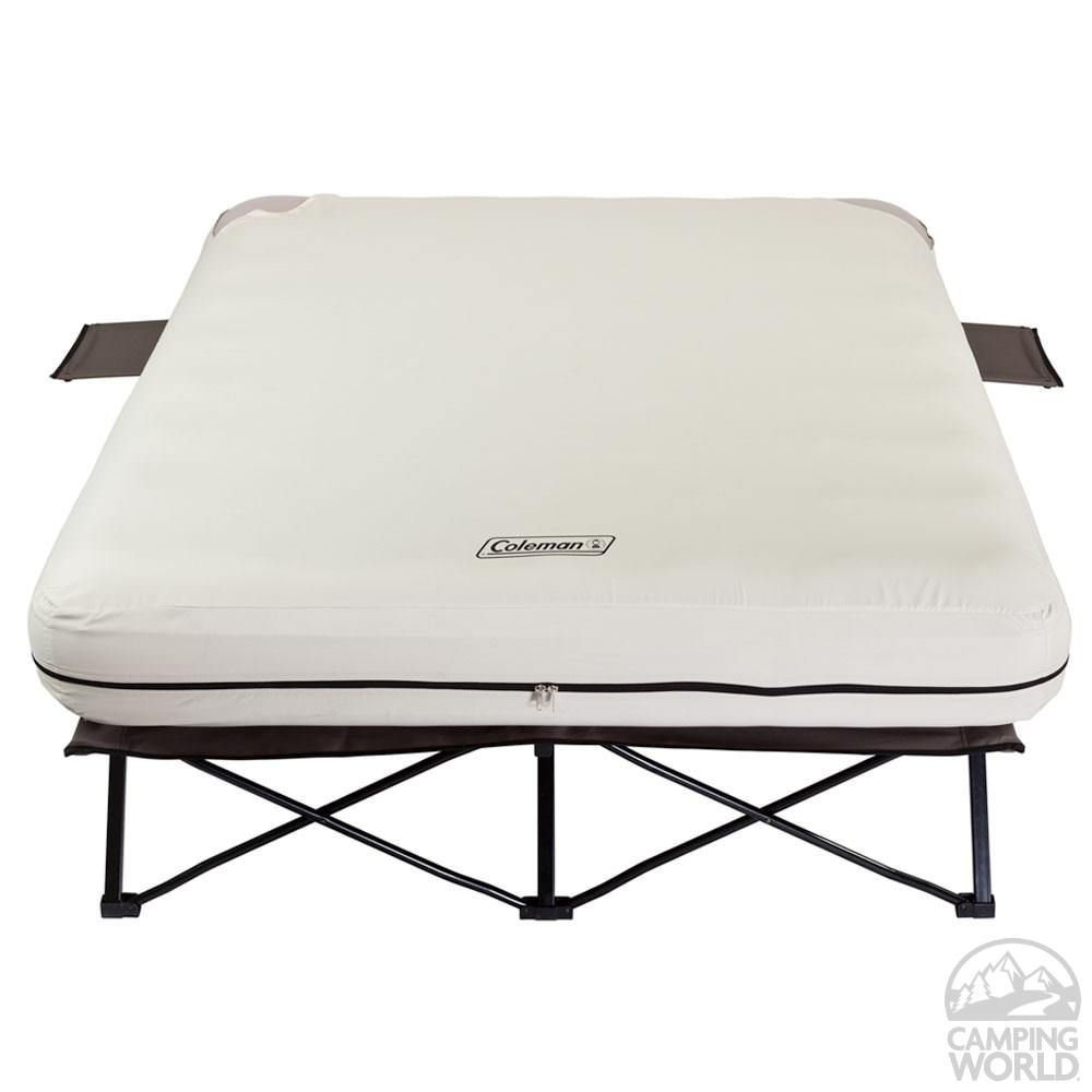 Queen Airbed Cot With Side Tables With Images Air Mattress Camping Camping Mattress Air Bed