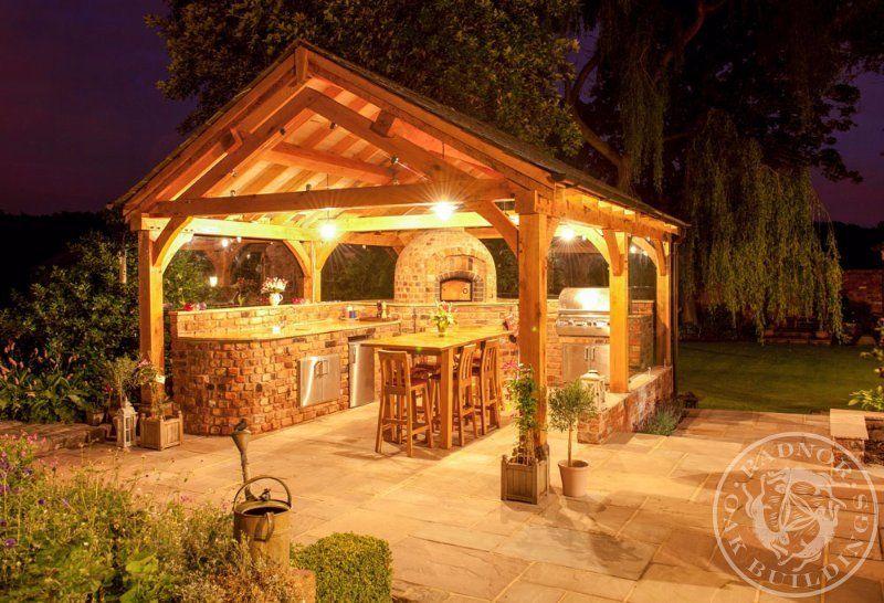 Radnor Oak Oak Framed Gazebos Oak Pavilion Outdoor Living Area Bbq Shelter Garden Room Outdoor P Wooden Gazebo Outdoor Kitchen Design Outdoor Kitchen
