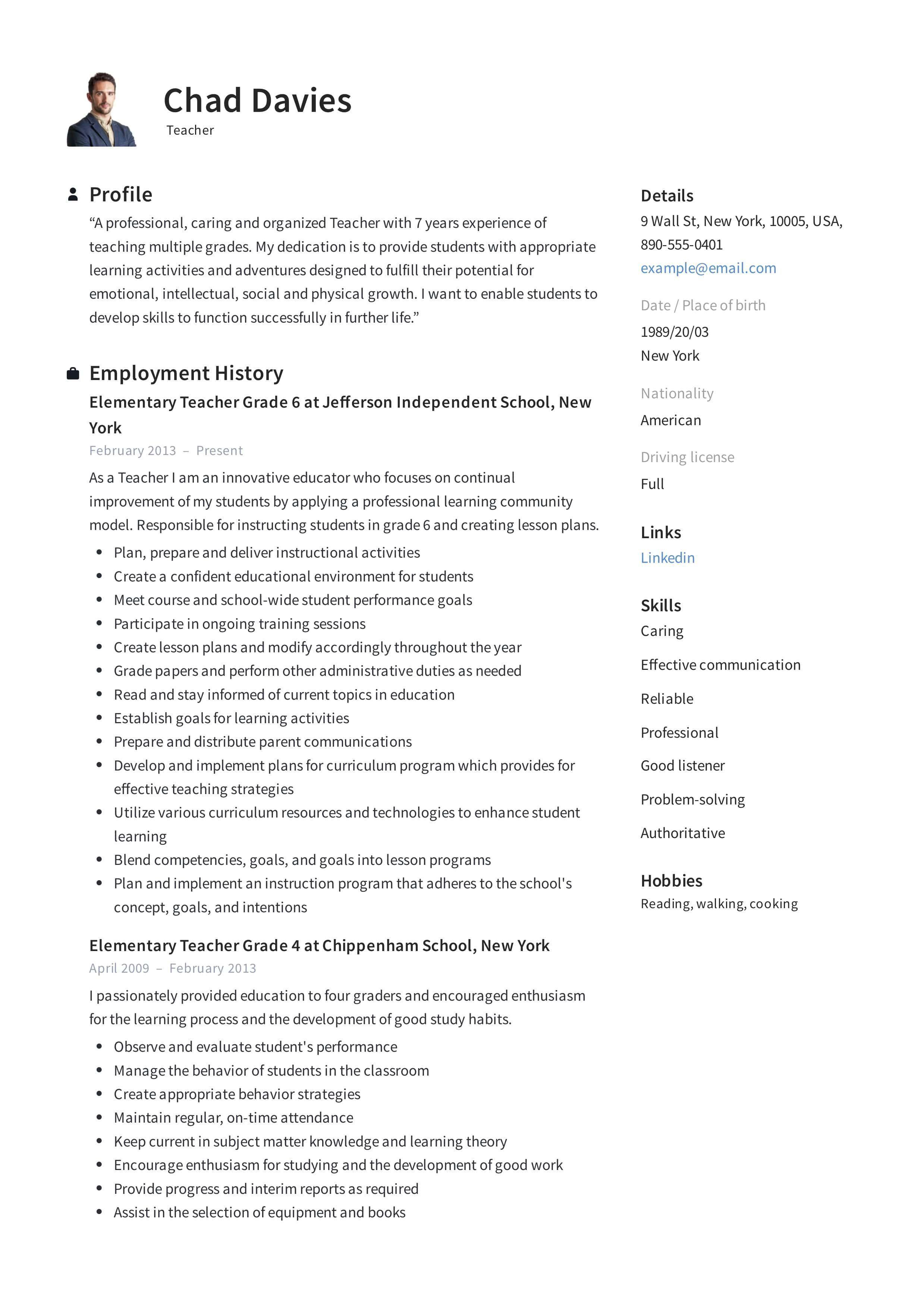 Sample Resume Skills For Teachers