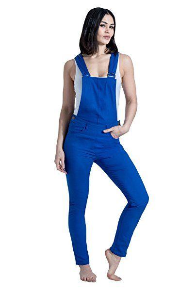 neueste kaufen große Sammlung klassische Schuhe USKEES Slim Fit Latzhose - Blau Damen Bib Overalls EU 34-46 ...