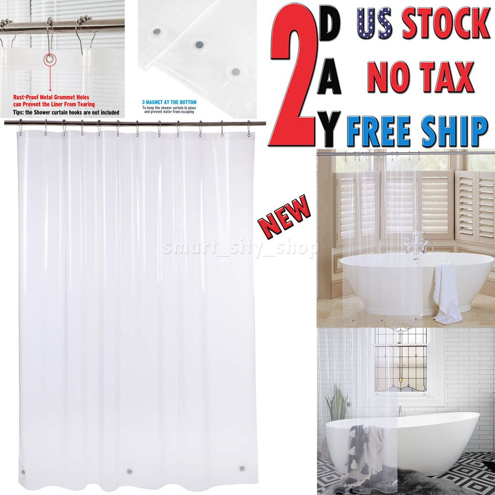 Extra Long Mildew Resistant Vinyl Shower Curtain Liner W Magnets