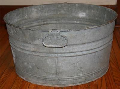 Vtg Wash Tub Basin Metal Galvanized Steel Cooler Primitive Bucket Garden  Planter