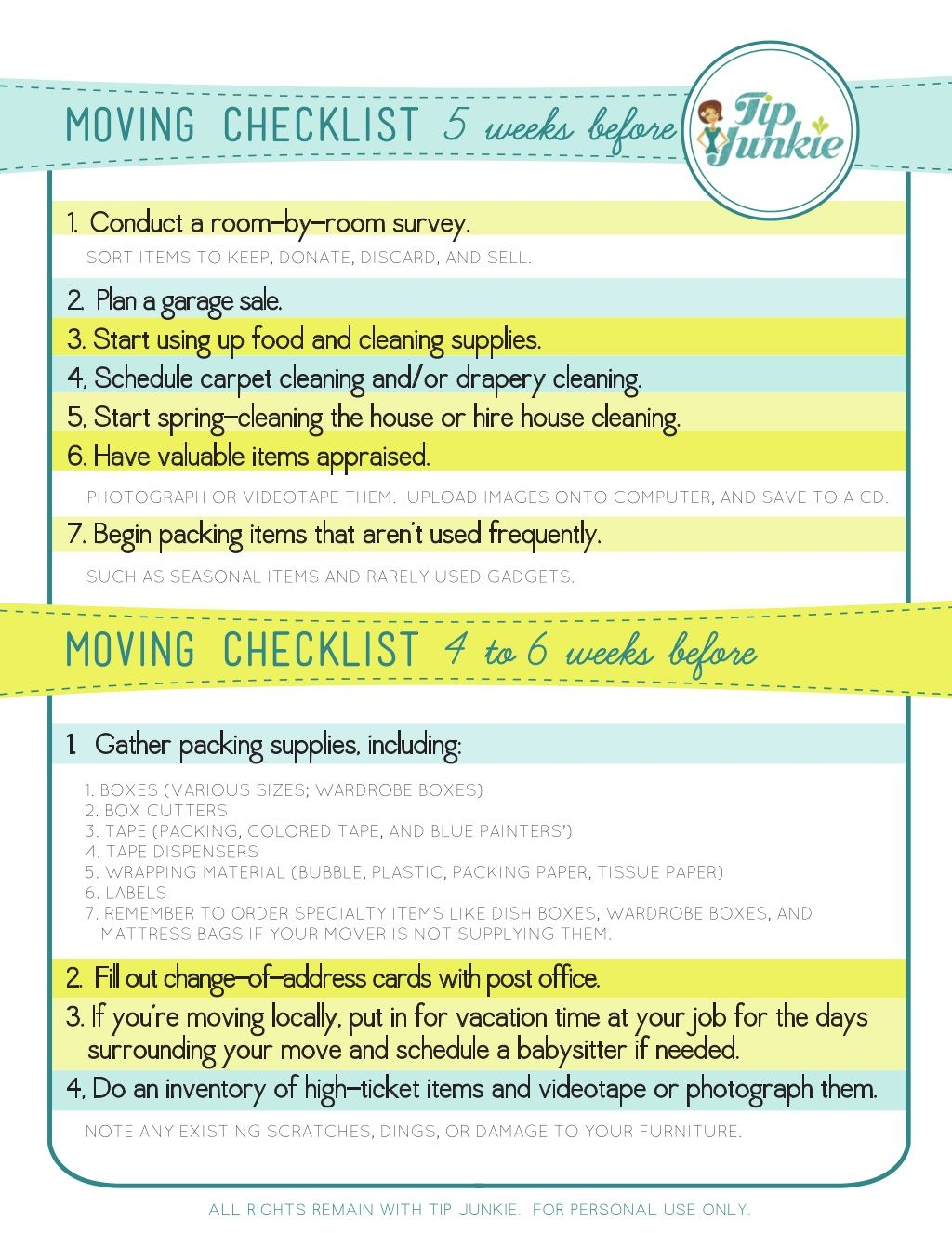 Moving Checklist  Travel Ideas