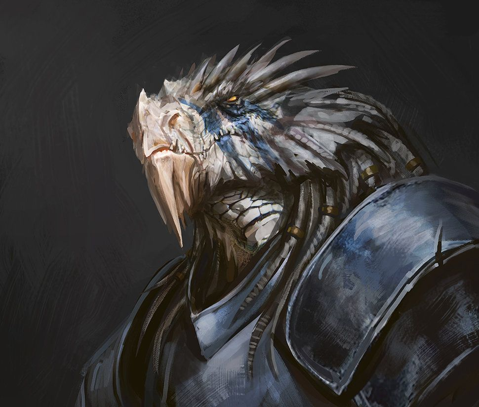 Daily 345/365 White Scaled Dragonborn Part of my daily sketching/painting routine Che ...