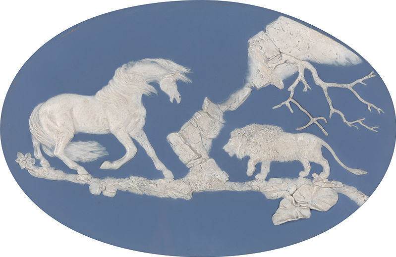 Horse Frightened by a Lion by the English potter and sculptor Josiah Wedgwood and Thomas Bentley, after George Stubbs. Modeled in 1780