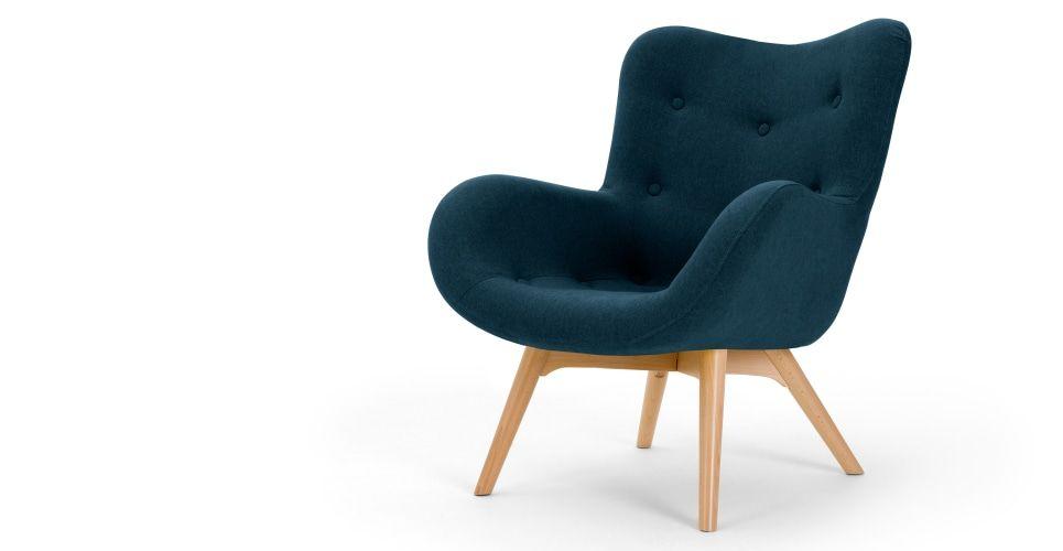 Doris fauteuil d appoint bleu shetland