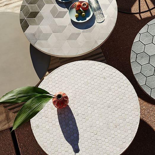 Mosaic Outdoor Bistro Table White Marble In 2019 Marble Bistro