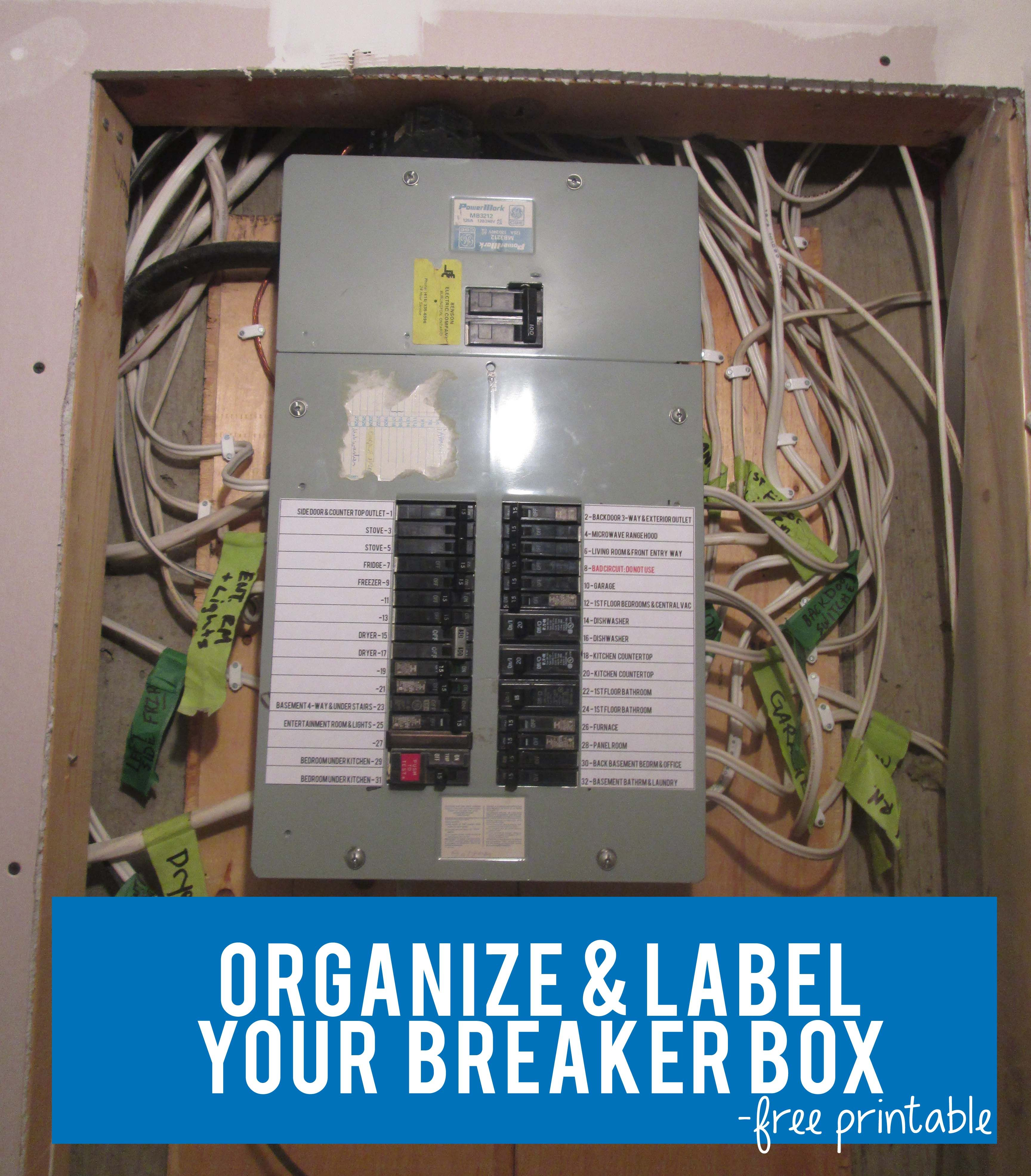 Organize Amp Label Your Circut Breaker Box With Free Circuit
