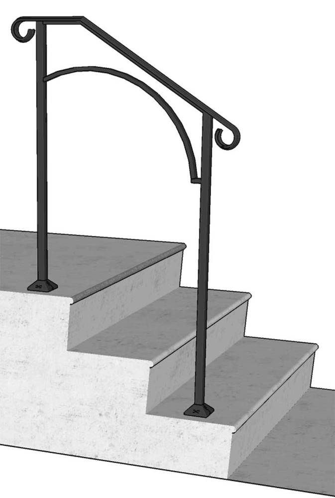 Best New Iron X Handrail Railing Arch Rail Fits 1 2 Or 3 Step 400 x 300