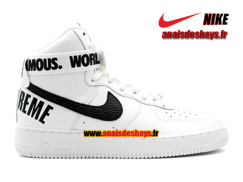 free shipping b858c cf423 Boutique Officiel Nike X Supreme Air Force 1 High Homme Blanc/Noir  698696-100