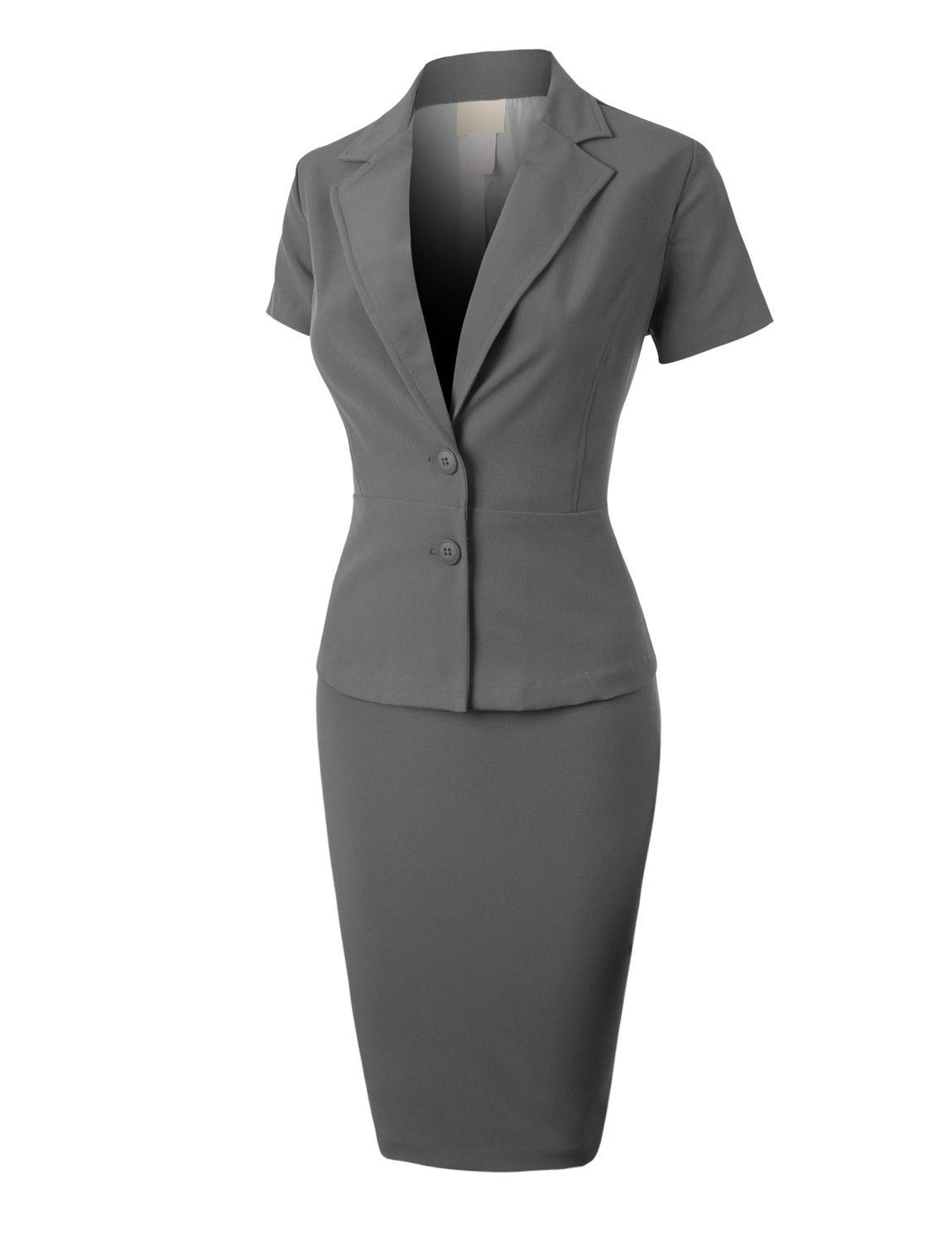 LE3NO Womens Formal Office Business Blazer and Skirt Suit Set Made in USA