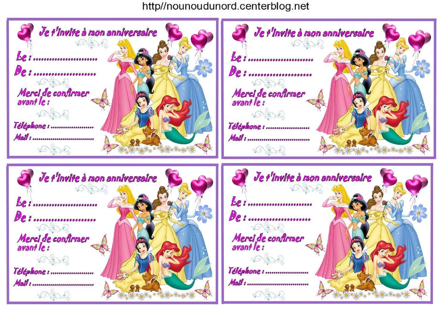 Etiquettes invitations Princesses pour anniversaire | Carte anniversaire à imprimer, Carte ...