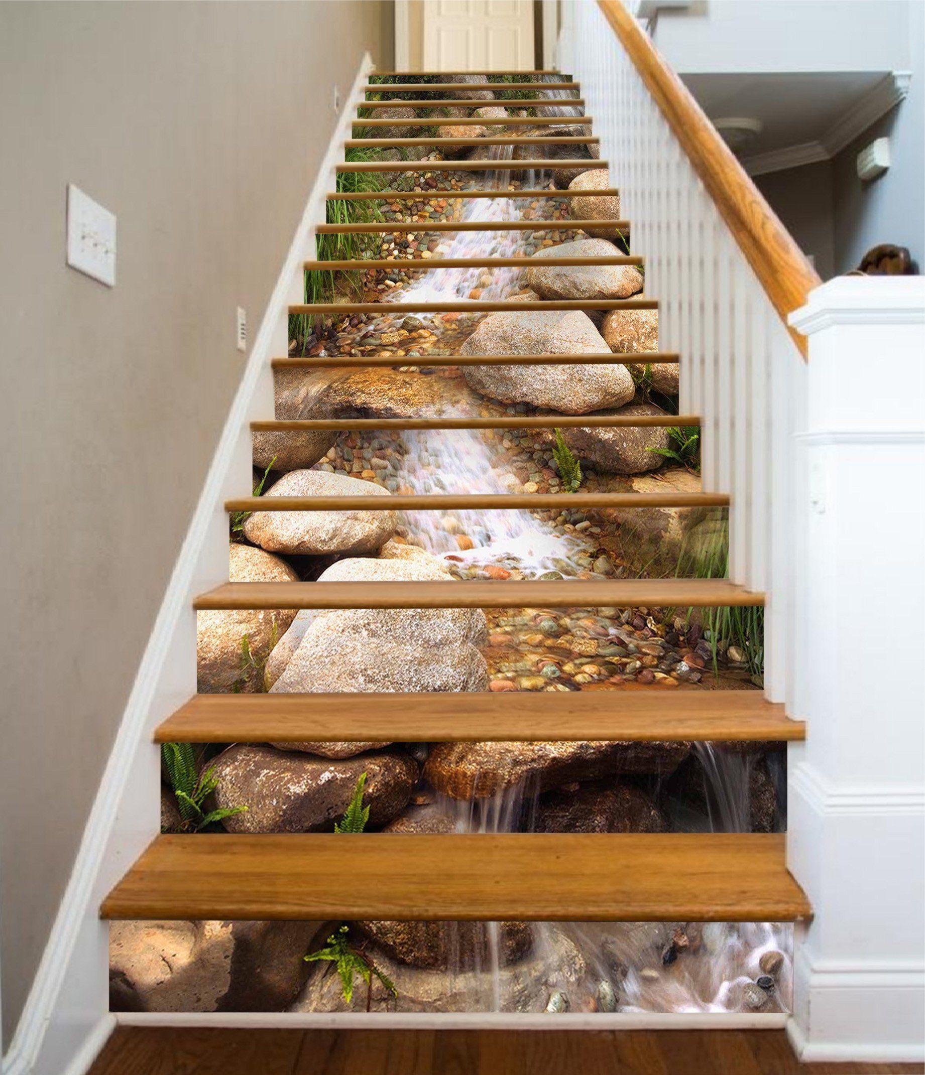 Best 3D Creek Stones 1627 Stair Risers Rustic Stairs 400 x 300
