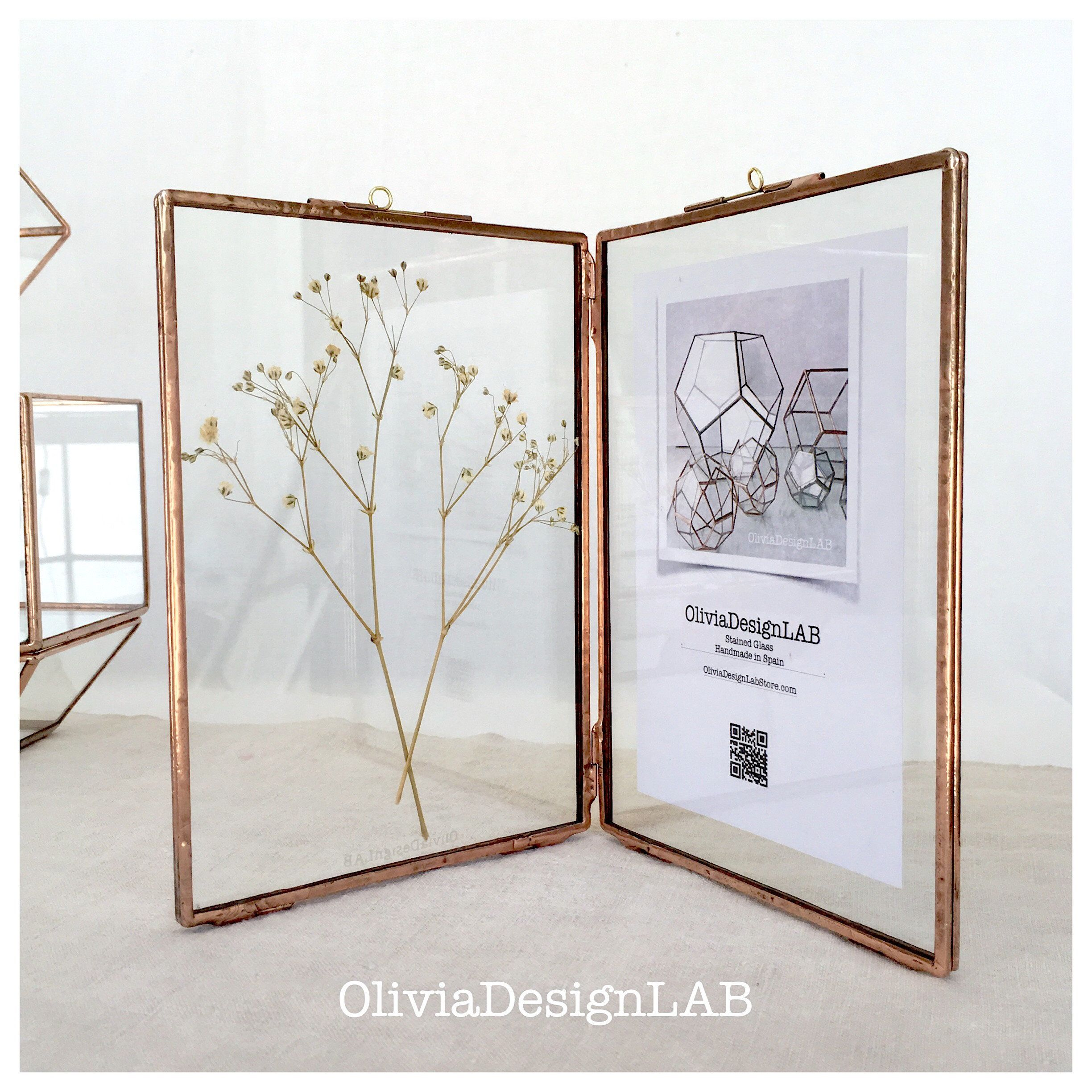 Glass Frame, Diptych Glass Frame Stained Glass With Closures For