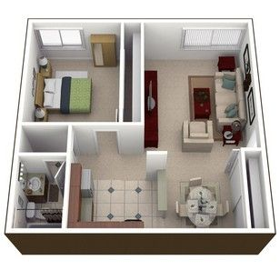 Square Foot One Bedroom Apartment