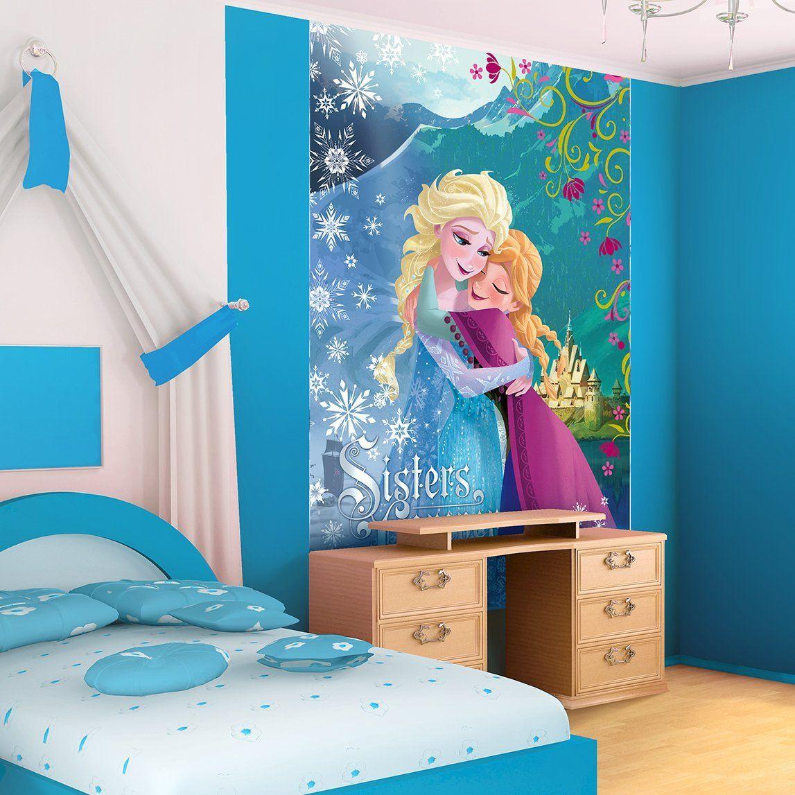 Disney frozen wall stencils - Disney Frozen Anna And Elsa Sisters Wallpaper Mural Amazon Com