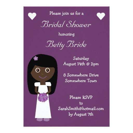 Cute Ethnic Bride Purple Bridal Shower Card