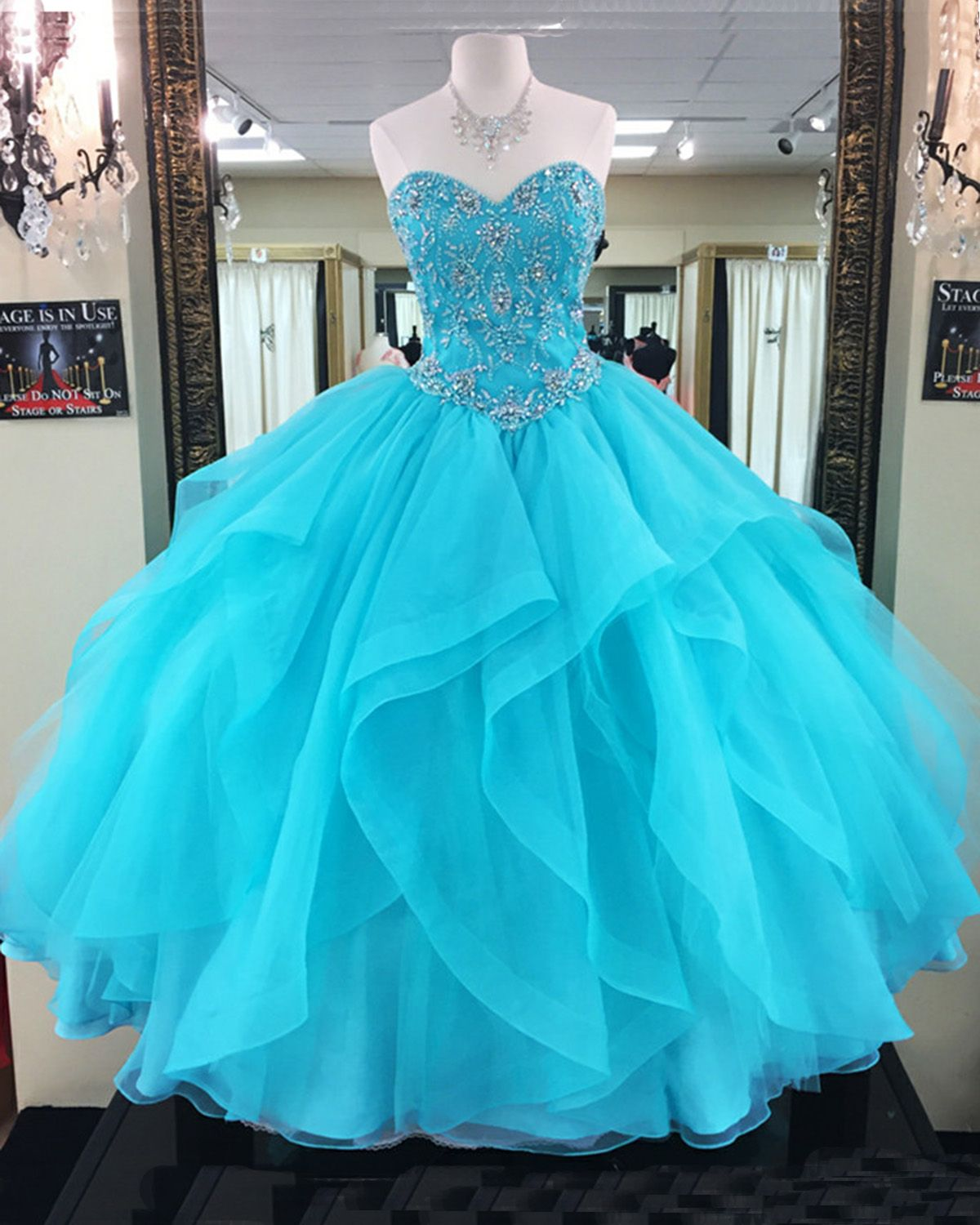 Beaded blue organza prom dress layered prom dress ball gown
