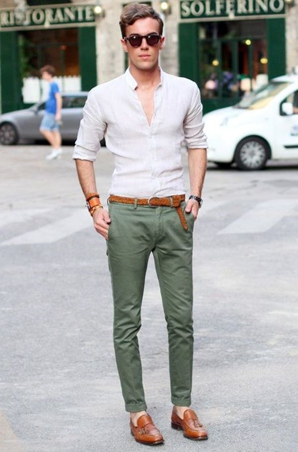 filippocirulli: I was wearing: Hermes kelly Dog bangle bespoken linen shirt Incotex  chinos vintage shoes - Nice Setup. Need some green trousers.