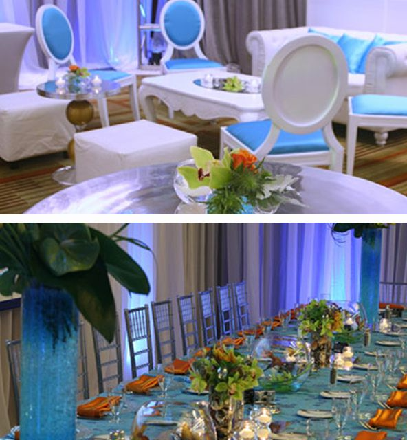 Great table setting for a luau or ocean-themed bat mitzvah ...