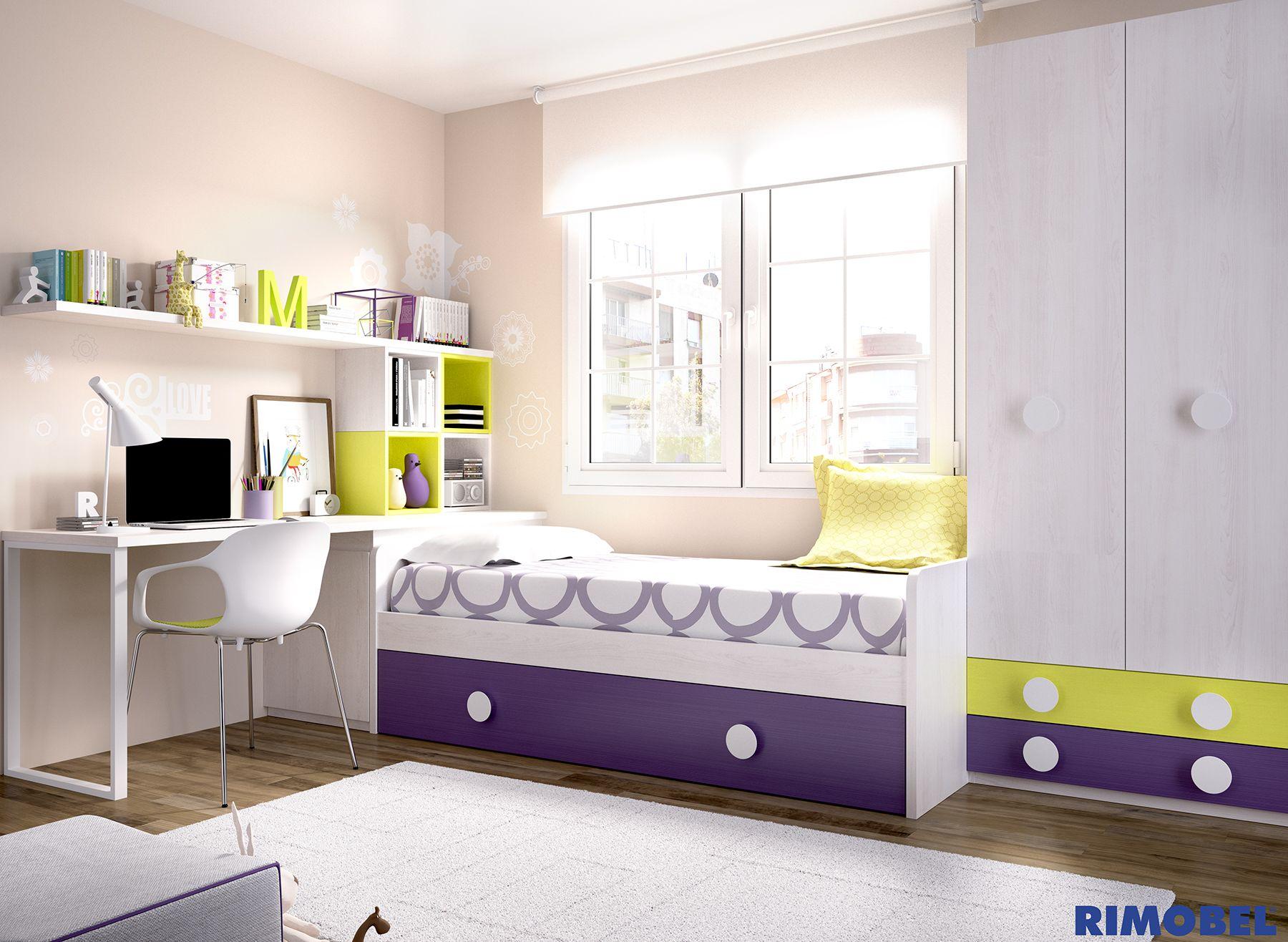 H 250 habitaci n juvenil con un arc n juguetero cama nido for Cama nido con arcon