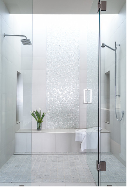 Waterfall Effect With Tile Combo Of Shower And Tub As A Wet Room
