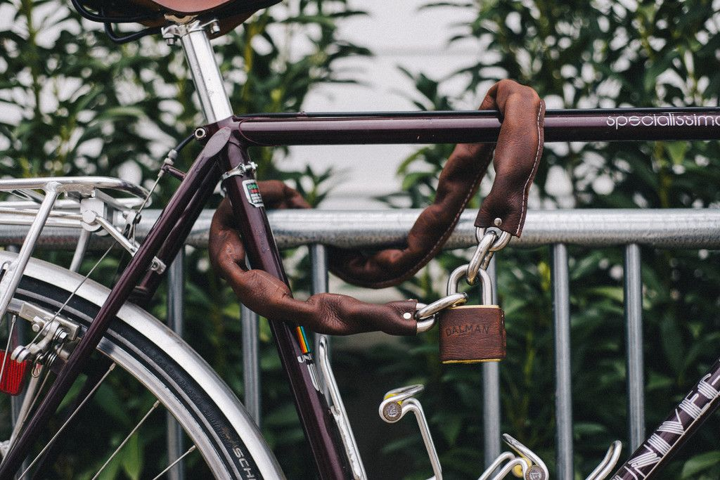 Chain Lock Brown Leather Chain Leather Bicycle Lock