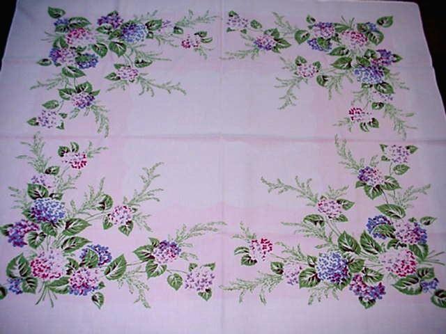 Vintage Hydrangea Floral Cottage Tablecloth Spring Blooms Pink Blue Flowers  Nice | EBay