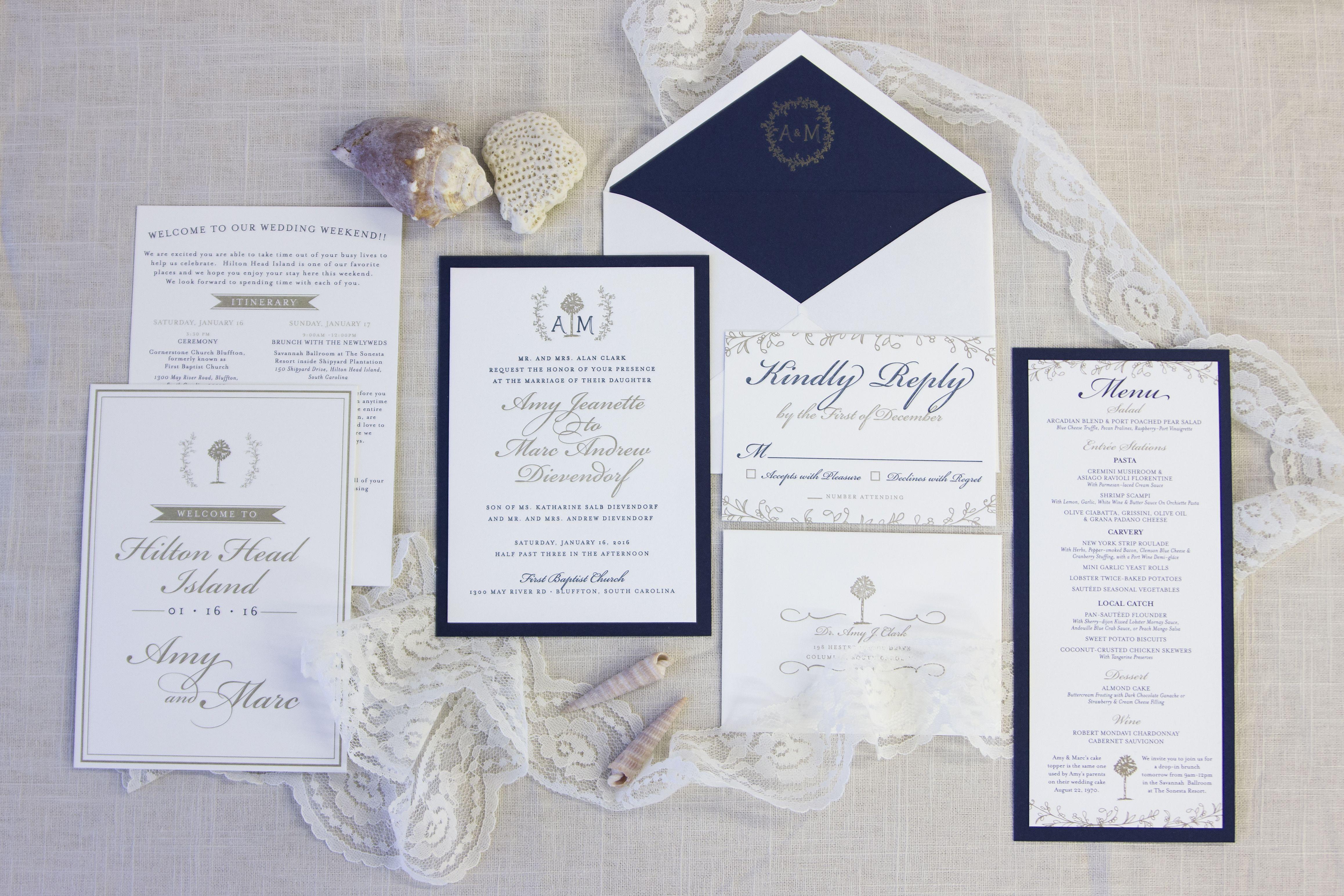 Custom wedding stationery • Hilton Head letterpress invitation suite ...
