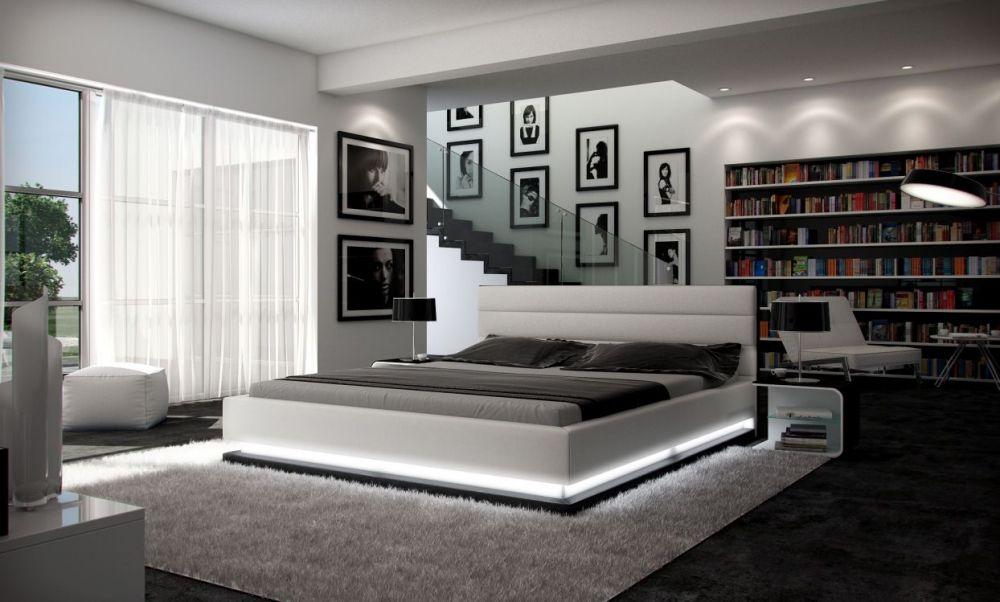 Doppelbett/Kunstlederbett RIPANI 180x200 cm weiss/schwarz - schlafzimmer set 180x200