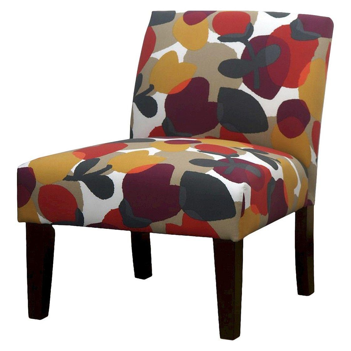 Avington armless slipper chair prism floral berry