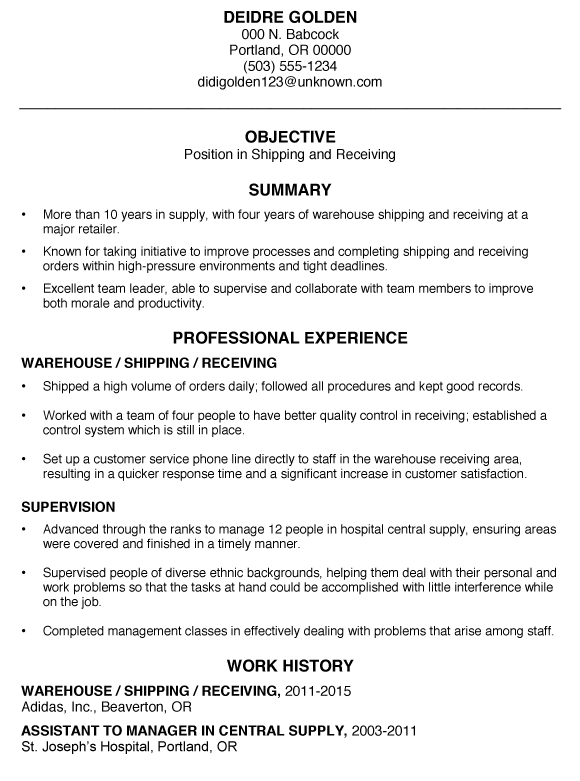 Sample Functional Resume Warehouse Shipping Receiving Gregg