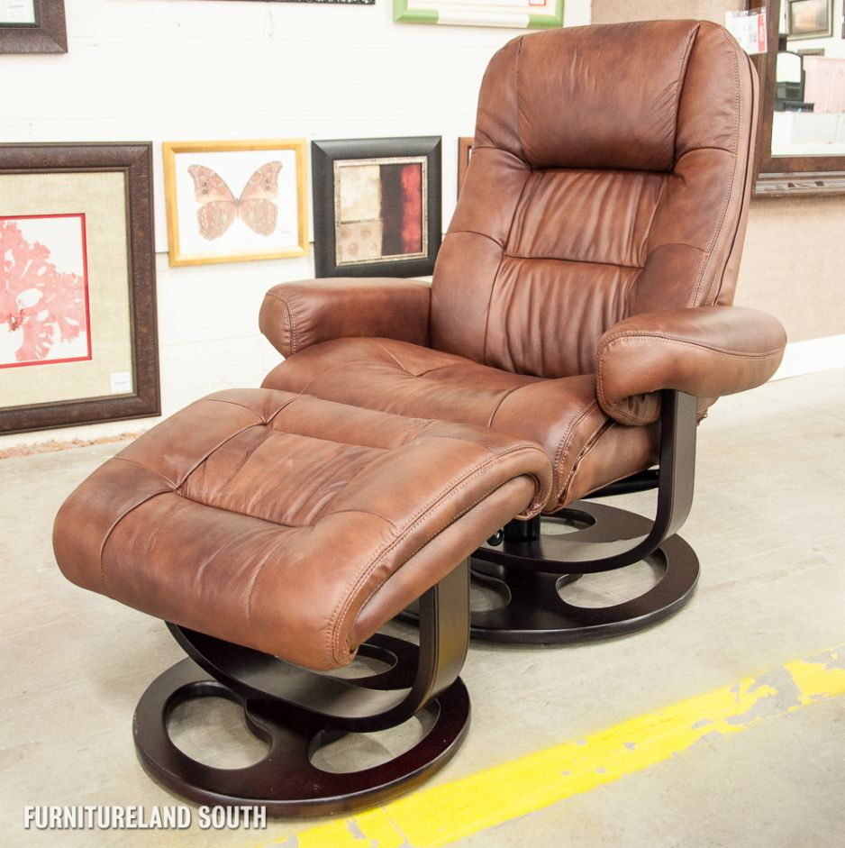 Furniture Luxurious Home Furnishings Light Brown Leather Reclining Chair And Ottoman On Dark Brushed
