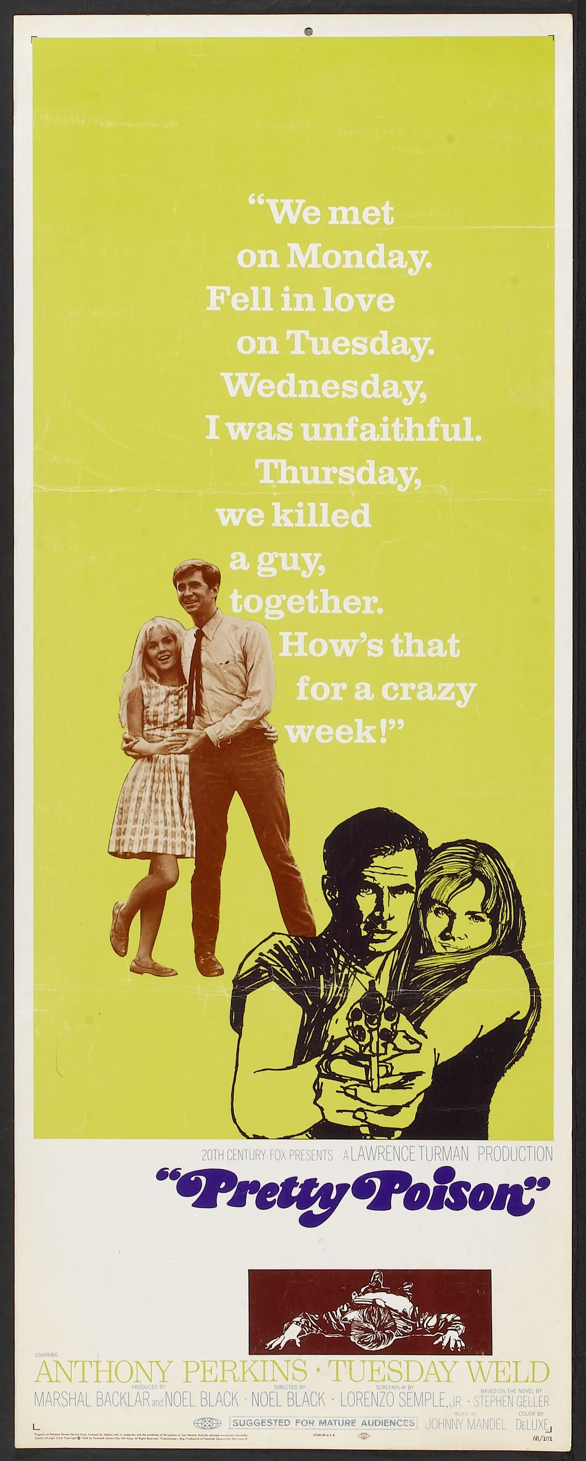 Pretty Poison (1968) Movie posters vintage, Tuesday weld