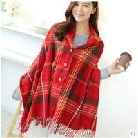 Autumn cashmere scarf European pop color shawl cloak coat buttons Plaid travel lady wholesale