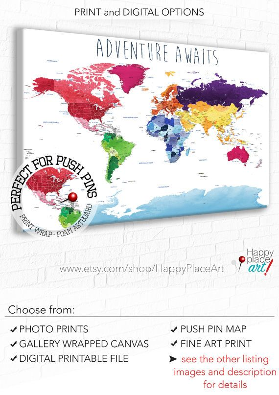 Educational world map print detailed world map push pin foam map educational world map print detailed world map push pin foam map world map gumiabroncs Images
