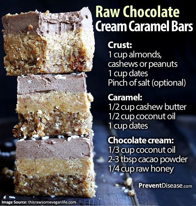 Raw Chocolate Cream Caramel Bars: CRUST: process the almonds or other nuts into flour in your food processor, then add the dates and process until it all begins to stick together. Press into the bottom of a lined baking pan and refrigerate. CARAMEL AND MOCHA LAYERS: just blend the ingredients in each list until smooth. Feel free to add other flavours like vanilla, chili, ginger, etc. Spread the caramel onto your crust, followed by the chocolate cream. Refrigerate until completely set; this…