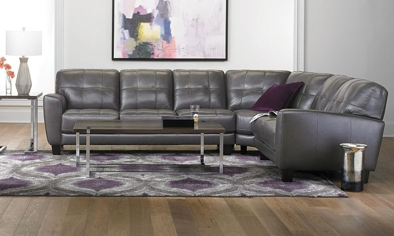 Violino Classico Pewter Top Grain Leather Flare Arm Sectional
