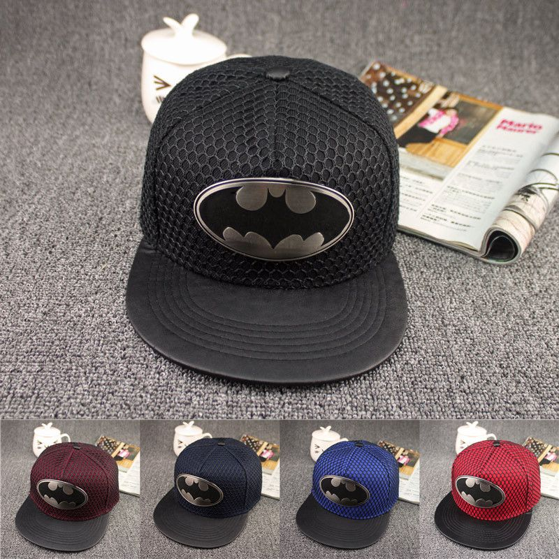 d5eb1c587 ... australia hot 2017 new fashion summer brand mesh batman baseball cap  leather hat for men women ...