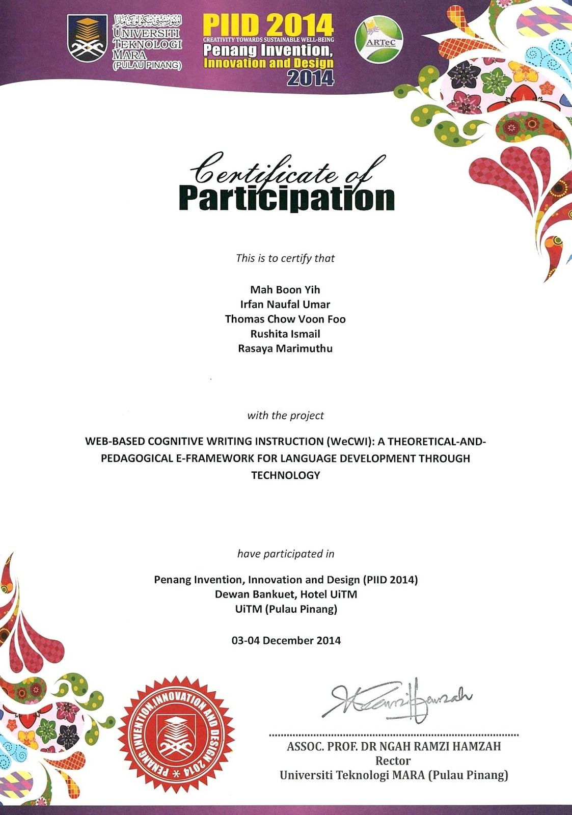 Penang Invention, Innovation And Design 2014 (PIID 2014): Certificate Of  Participation  Design Of Certificate Of Participation