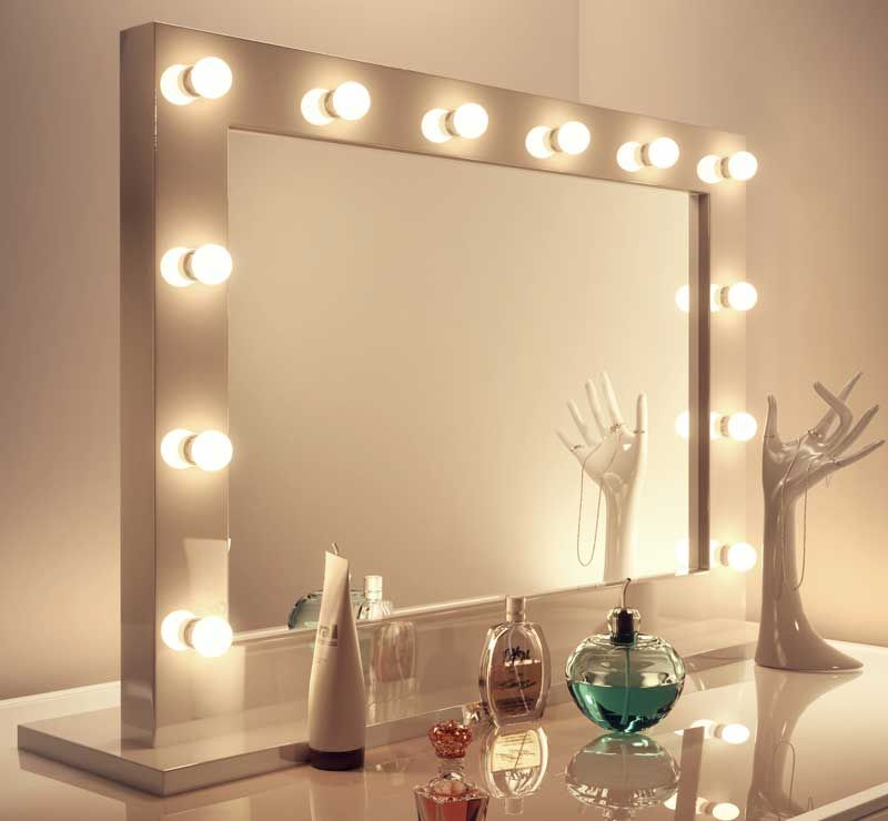 Stijlvolle brede visagie spiegel met 12 led lampen for Miroir hollywood ikea