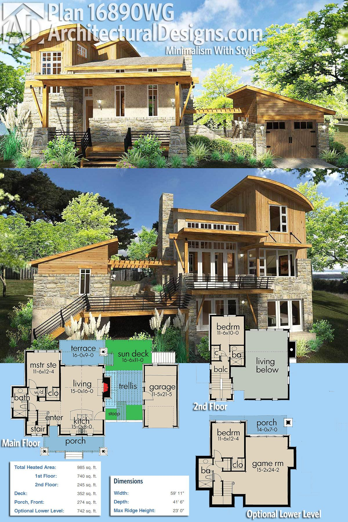 Architectural Designs House Plan 16890WG gives you over 900 square feet of heated living space plus an optional finished lower level with an additional bed and bath. Ready when you are. Where do YOU want to build?