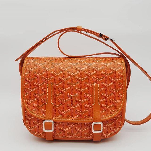2000 wire. Preloved Goyard Belvedere PM Bag Orange Canvas